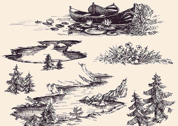 关键词: 多款素描手绘图案矢量素材,素描,手绘,插画,风景,黑白,植物