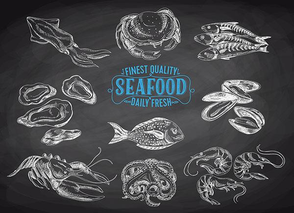 蛤蜊,海鲜,章鱼,墨鱼,螃蟹,海洋动物,海鲜素材,食物食材,图案图形