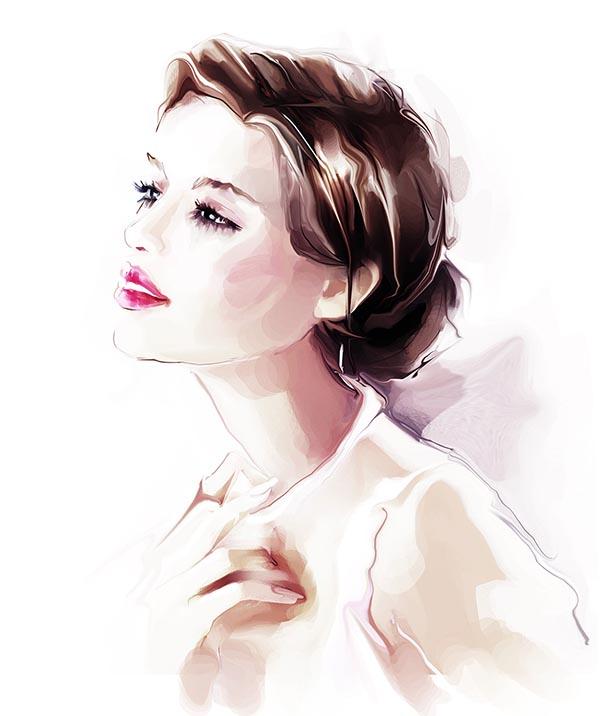 _水彩手绘时尚美女