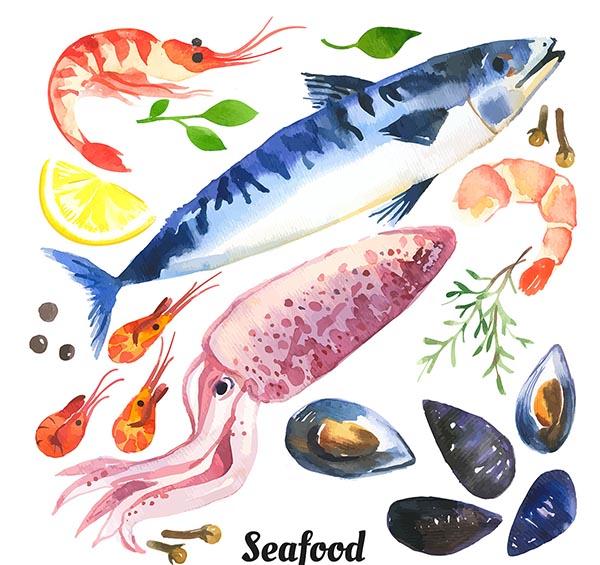 手绘海鲜食材