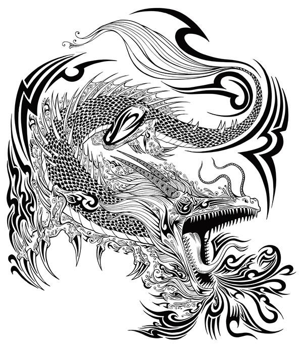 手绘线条龙纹