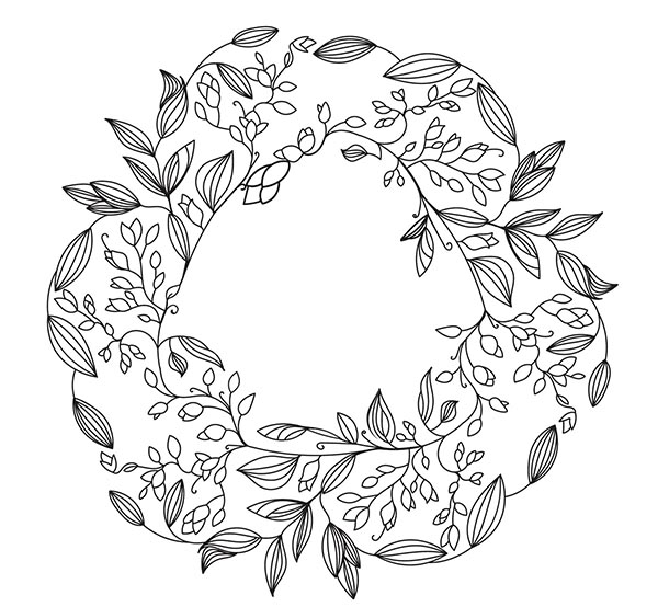 欧式手绘圆形花纹