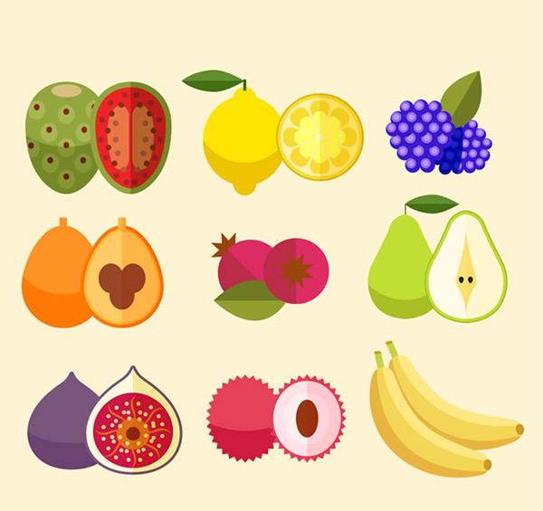 彩色水果和切面