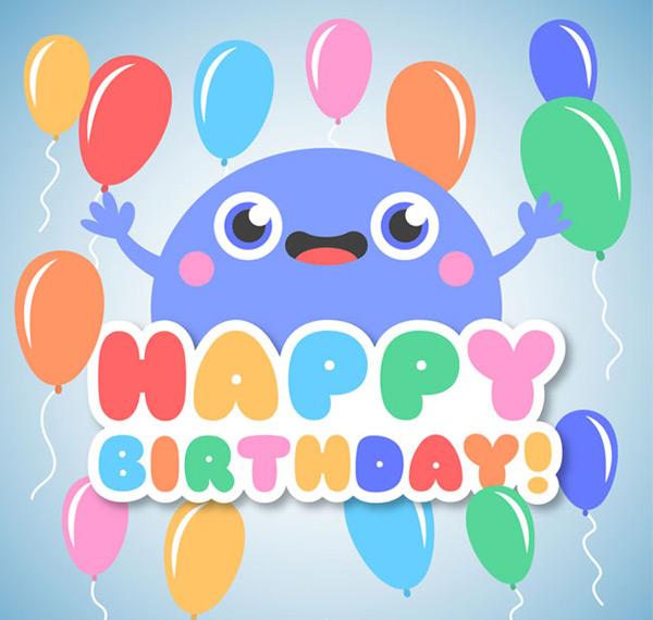 矢量生日所需点数: 0 点 关键词: 可爱卡通怪物和气球生日快乐矢量
