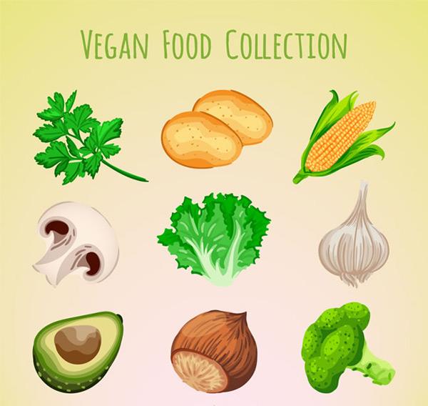 蘑菇,生菜,大蒜,牛油果,榛子,西兰花,坚果,素食,健康,彩绘,蔬菜,水果
