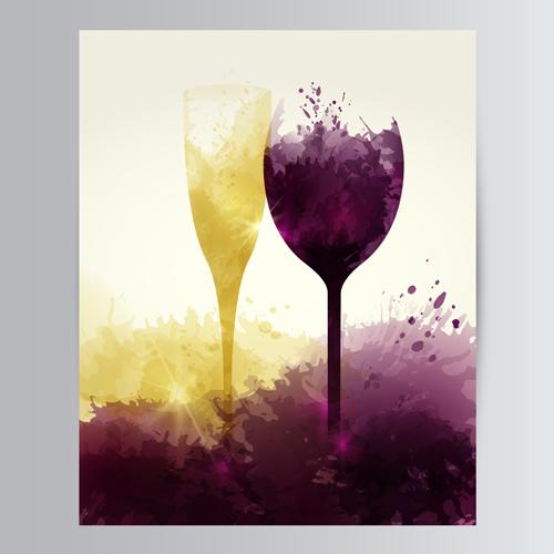 创意设计,设计元素,墨迹,墨点,喷溅,高脚杯,酒杯,香槟酒,红酒,葡萄酒