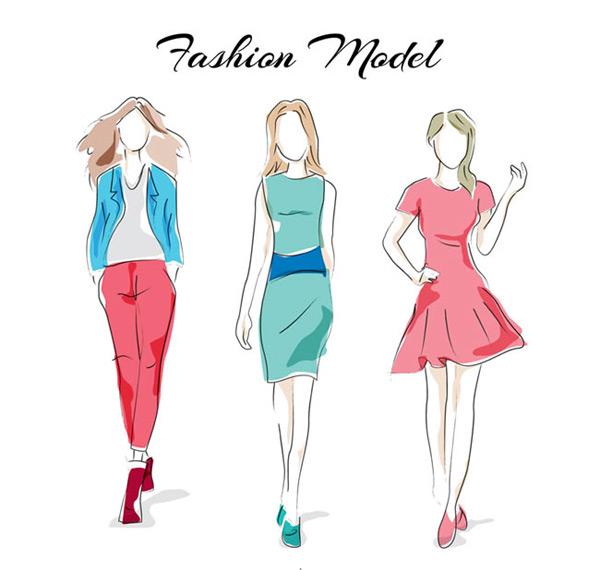 素材分类: 矢量职业人物所需点数: 0 点 关键词: 手绘模特服装图片