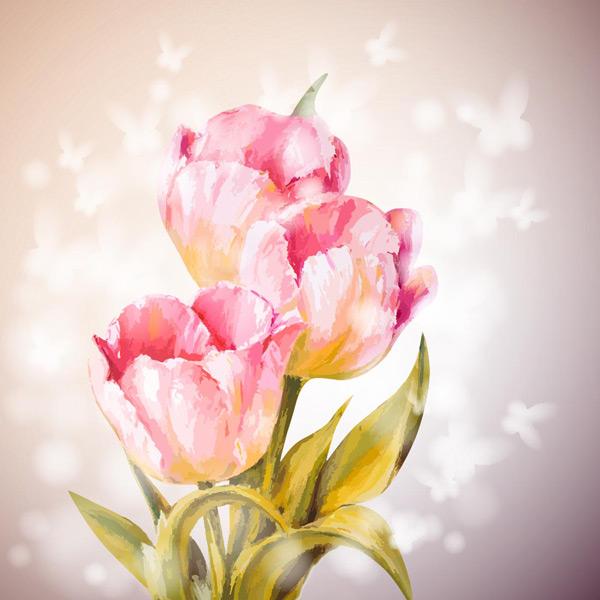 手绘粉红色唯美花朵蝴蝶剪影背景高清图片,粉红色渐变背景,白色蝴蝶