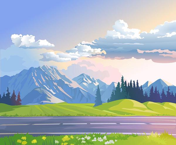 蓝天,白云,山脉,森林,草地,公路,野花,春天,卡通动漫,卡通风景,卡通