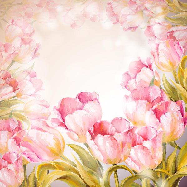 粉红色背景,水彩花卉,手绘花朵,椭圆形边框,白色光斑,郁金香,绿叶