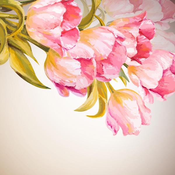 手绘花朵,郁金香,绿叶,鲜花,手绘插画,花草底纹背景,花朵边框素材