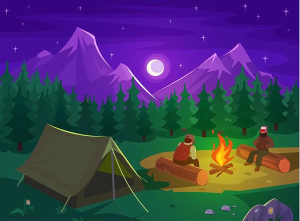 夜晚的山脉和森林