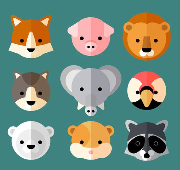 小动物头像矢量素材,动物头像,扁平化动物头像,可爱动物头像,狐狸,猪
