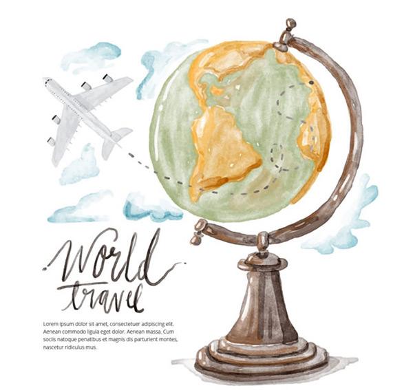 地球仪和飞机