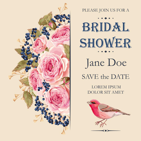 手绘花朵,鲜花,小鸟,粉红色花朵,玫瑰花朵边框底纹,结婚请柬,邀请函