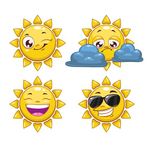 矢量素材,矢量图,设计素材,卡通,可爱,太阳,表情,墨镜,饮料,云朵,笑脸