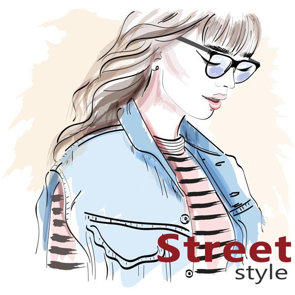 时尚美女,长发美女,戴眼镜的美女,街头时尚美女,时尚个性人物绘画