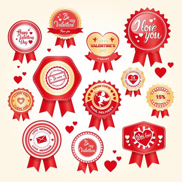 徽章,圆形心形奖牌,绶带,徽章,品质标签,创意标签标贴,矢量素材,eps
