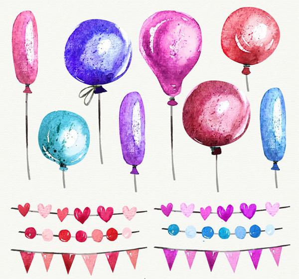 彩色气球和拉旗