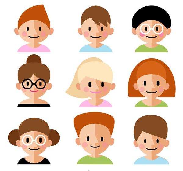 可爱尖鼻子人物头像矢量素材,人物头像,可爱头像,卡通头像,男子,女子