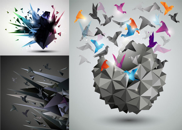 0点 关键词: 立体纸鹤背景矢量素材,现代,立体,3d,纸鹤,背景,叠纸,折