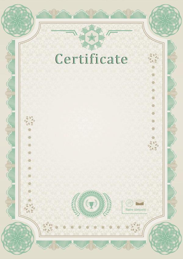 0 点 关键词: 精美绿色花纹边框证书模板矢量素材,欧式证书模板,空白