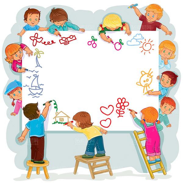 画纸,画画,画画的孩子们,凳子,梯子,卡通儿童,孩子,卡通形象,人物漫画