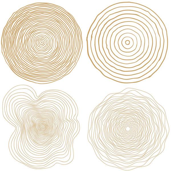 四款咖啡色木纹素材矢量素材,手绘环形线条纹理,木纹,树桩切面,树木纹理,咖啡色纹理素材,树木横切面纹理,年轮矢量素材,EPS格式