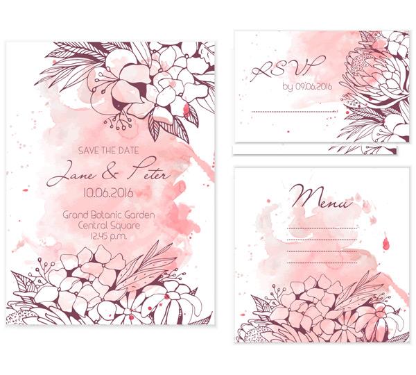 白色请柬贺卡,粉红色水彩晕染,手绘花纹,花纹边框,洁贺卡,邀请卡