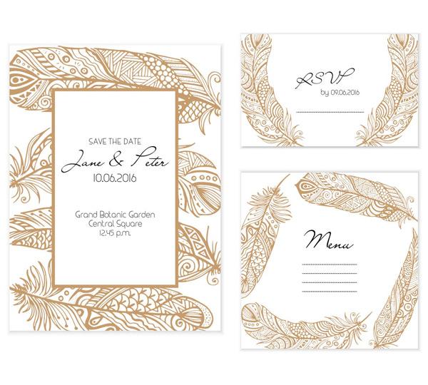 咖啡色花纹,羽毛花纹,手绘花纹,边框简洁贺卡,邀请卡,明信片,情人节卡