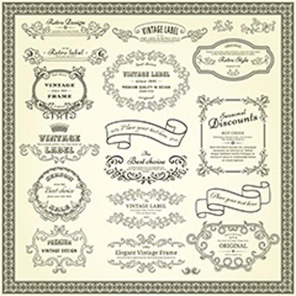花纹标签,植物边框,皇冠花纹,藤蔓花纹边框,创意花纹图形边,框欧式