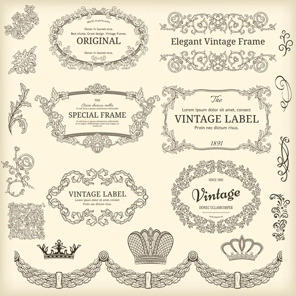 花纹标签,植物边框,藤蔓花纹边框,创意花纹图形边框,欧式花纹,花纹