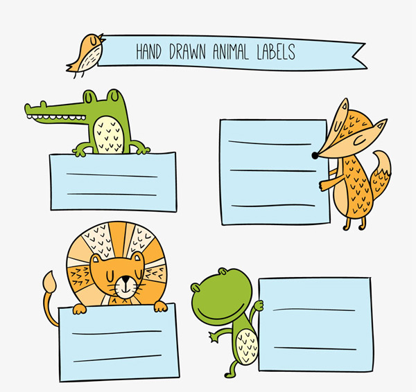 素材分类: 矢量卡通动物所需点数: 0 点 关键词: 手绘动物装饰标签