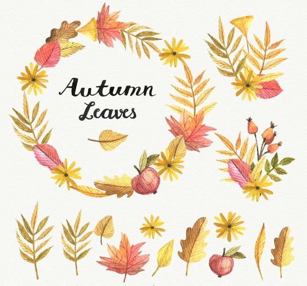 0 点 关键词: 15款彩绘秋季叶子和花环矢量素材,秋季,彩绘,叶子,树叶