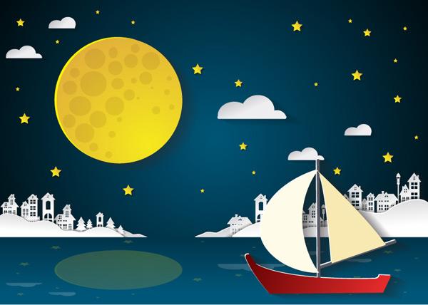 0 点 关键词: 夜晚中航行的帆船剪贴画矢量素材,月亮,星星,云朵,建筑