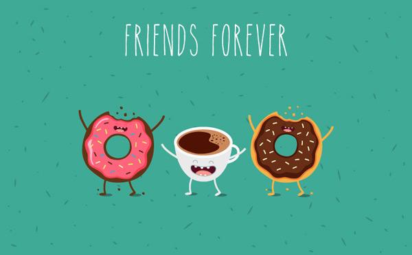 可爱卡通甜甜圈和咖啡矢量素材,甜点,甜甜圈,咖啡,食物,矢量图,eps