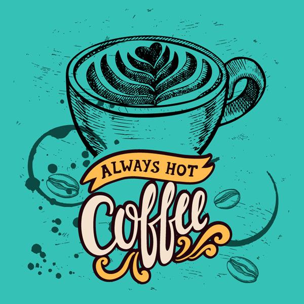 手绘咖啡海报矢量素材,咖啡渍,咖啡豆,手绘,咖啡,海报,coffee,拉花