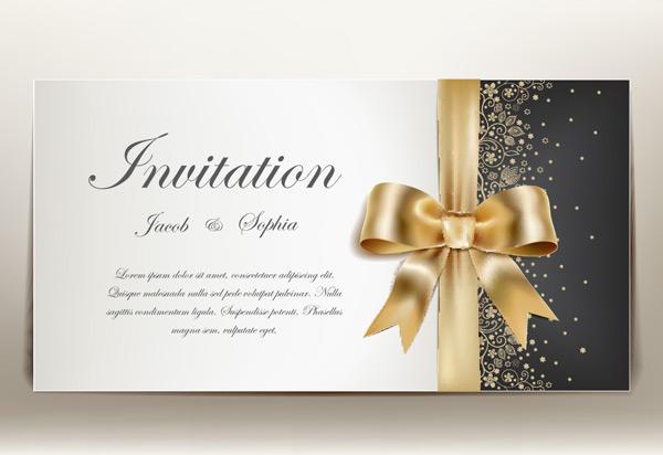 欧式请柬,时尚请柬,丝带请柬,婚礼请柬,金色丝带蝴蝶结,花纹边框,贺卡