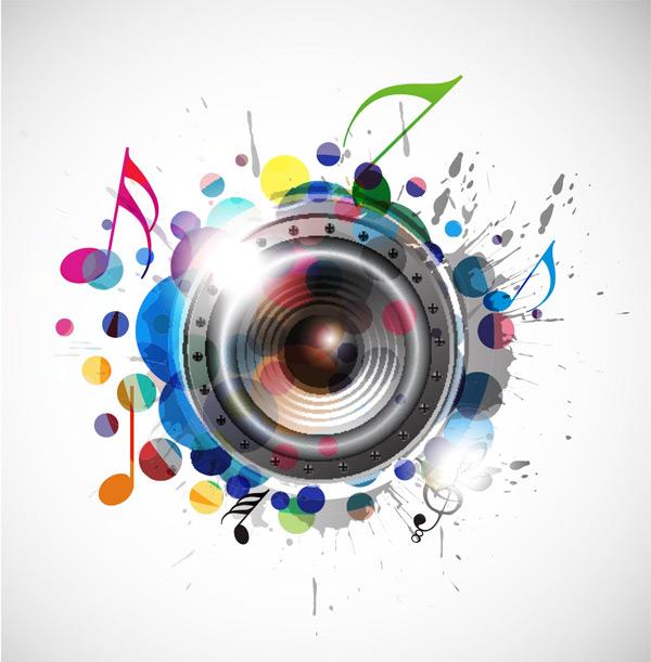 0 点 关键词: 多彩闪耀时尚音乐元素背景矢量素材,多彩音符,黑色喇叭