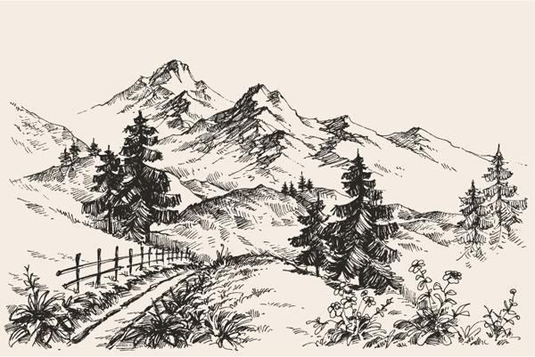 素描山地景观