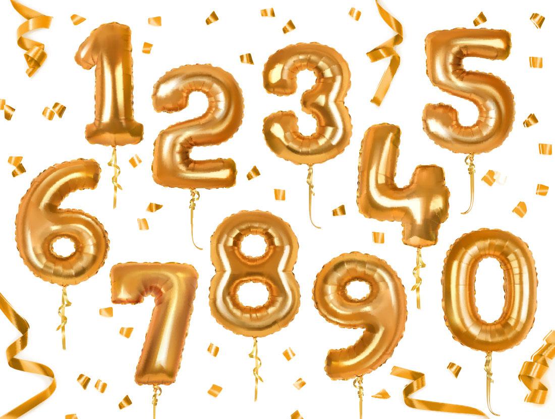 金色数字,数字气球,金色气球,金色飘带,彩带字体设计,可爱字体,卡通