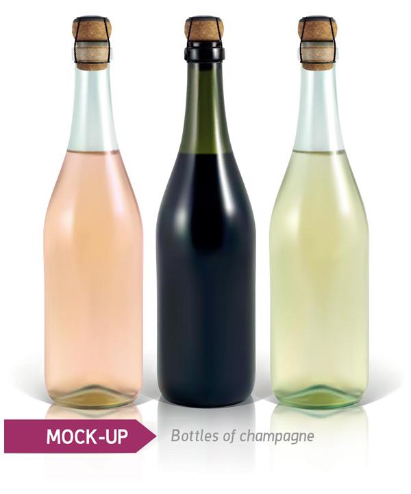 香槟酒瓶,玻璃瓶,木塞,洋酒包装设计,高档酒瓶设计,包装白模,酒瓶白模