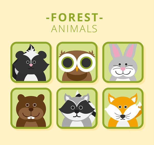 0 点 关键词: 呆萌森林动物头像矢量素材,臭鼬,猫头鹰,兔子,熊,浣熊