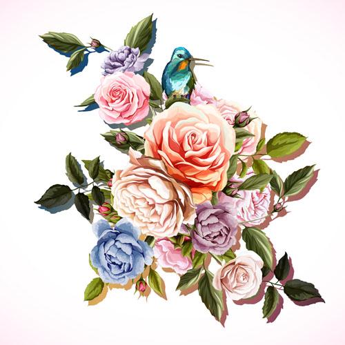 彩绘玫瑰花矢量素材下载,矢量素材,矢量图,设计素材,手绘,水彩,花卉