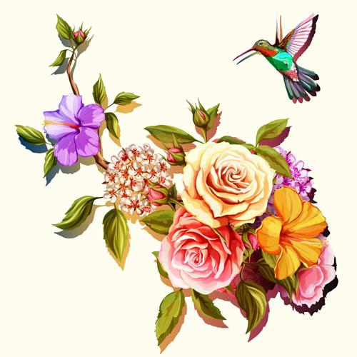 矢量素材,矢量图,设计素材,手绘,水彩,花卉,鲜花,小鸟,花鸟,树枝,花枝