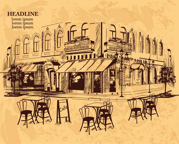 景观所需点数: 0 点 关键词: 复古手绘室外咖啡馆矢量素材,建筑,楼房