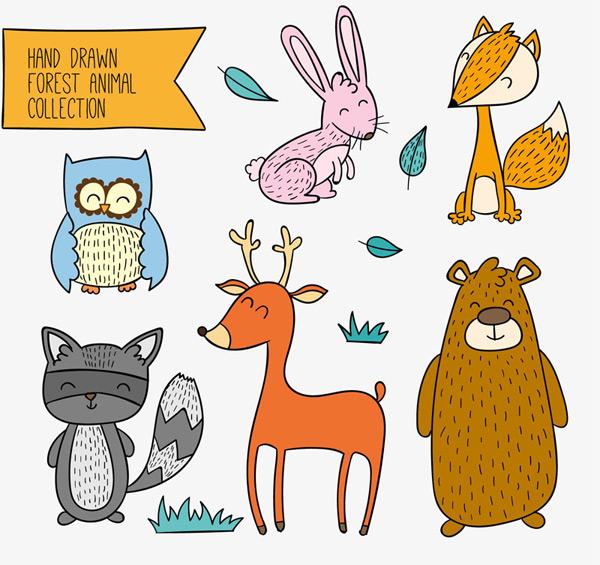 素材分类: 矢量卡通动物所需点数: 0 点 关键词: 6款彩绘笑脸森林
