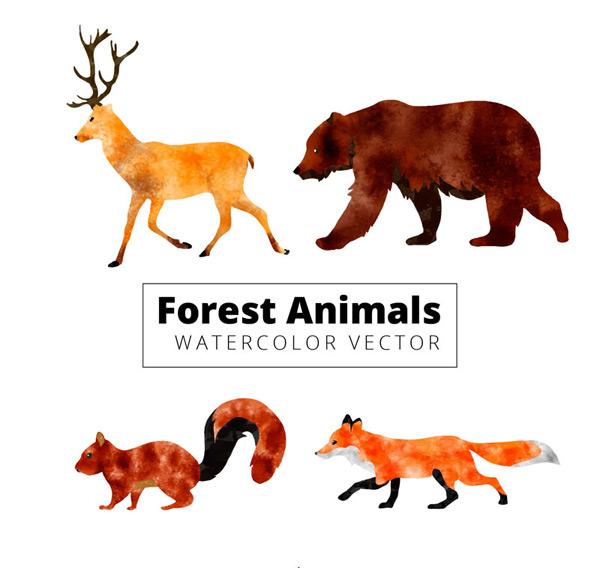 矢量野生动物所需点数: 0 点 关键词: 4款水彩绘动感森林动物矢量图