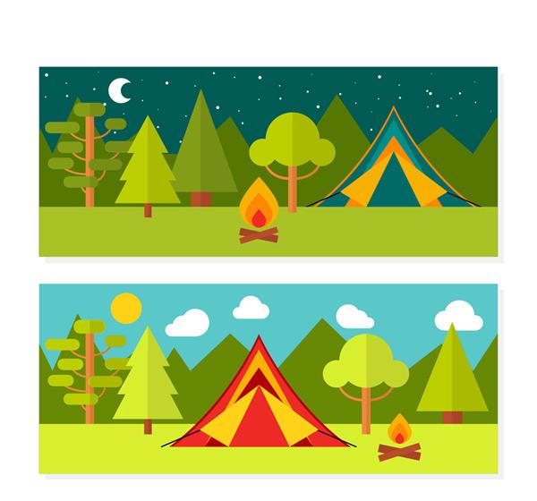 0 点 关键词: 2款扁平化户外野营风景banner矢量图,月亮,树木,森林