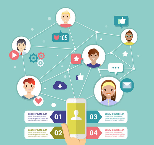 0 点 关键词: 创意手机社交网络信息图矢量素材,男子,女子,手势,点赞